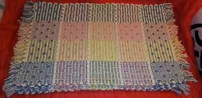 Set of 6 Heavy Thick Woven Cotton Placemats Pink Blue Yellow