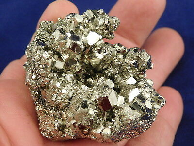 A Super Nice! and 100% Natural RHOMBIC Pyrite Crystal Cluster From Peru 215gr e