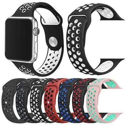 Replacement Sports Silicone Watch Strap For Apple Watch 1, 2, and 3 38mm & 42mm