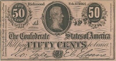 1864 50 Cents Confederate Civil War Currency Note - Jefferson Davis - Crisp New
