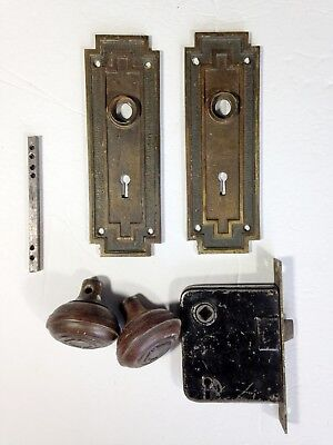 Antique Door Hardware Set Knobs, Art Deco Back Plates, Mortise Lock, Rod