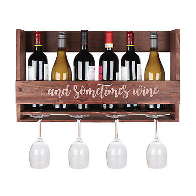 Wall Mount Wooden Wine Rack 6 Bottle 4 Glass Display Whanging
