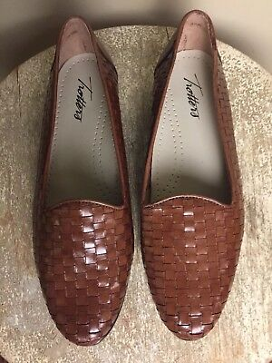 0bc9597da31 TROTTERS WOMENS 6.5 Woven Leather Flats Shoes Brown Leather New ...