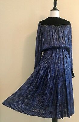 VTG 80s GIVENCHY Couture Silk Dress Velvet Yoke Metallic Gold Pin Stripe Med