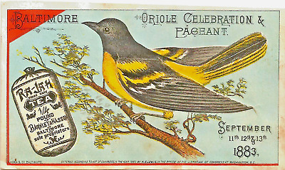 1883 Baltimore - Oriole Celebration & Pageant Trade Card