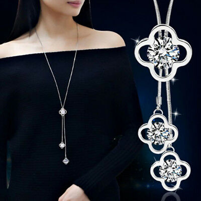Silver Crystal Four-Leaf Clover Pendant Long Sweater Chain Necklace For Women S