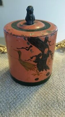 Antique Chinese Tea Caddy Box can canister metal Foo Dog Hand Painted