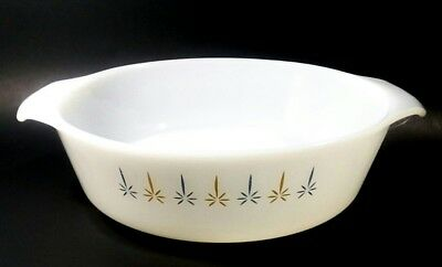 Vintage Anchor Hocking Fire King 1.5 Qt #437 Casserole Dish Candle Glow Pattern