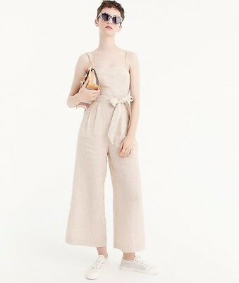 e67556603f4 J.Crew Striped Linen Jumpsuit with tie Caramel Ivory Size 8  128 Item    G5964
