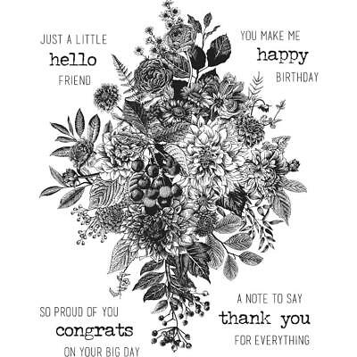 """Tim Holtz Stampers Anonymous """"GLORIOUS BOUQUET"""" Cling Stamp Set with Grid Block"""