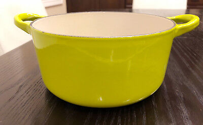 "Vintage Green Le Creuset ""B"" Round Dutch Oven, Made in France"
