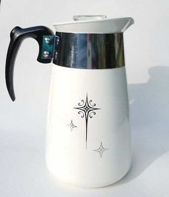 Vintage Corning Ware Platinum Starburst 6 Cup Stove Top Coffee Percolator 1950s