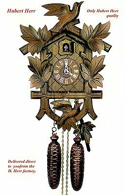 Hubert Herr,  Black Forest  8 day cuckoo clock, with 2 lovely hand carved birds.