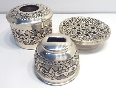Set Of 3 Embossed SilverPlate Incense, Other Aroma Type Container/ Plate