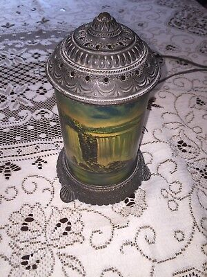 Antique Art Deco 1930's National Niagara Falls Metal & Glass Motion Lamp
