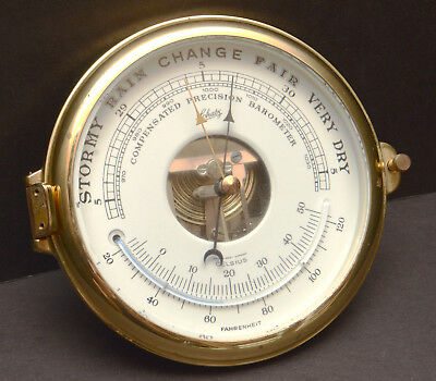 "Schatz Ship VTG Brass Thermometer Barometer nautical mariner 6"" Face door ONLY"