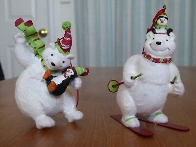 Set of 3 Polar Bear Christmas Tree Ornaments