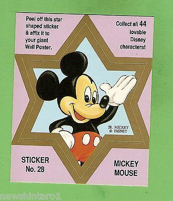 #d544. Disney Star  Sticker Card #28  Mickey  Mouse, Pink