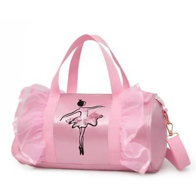 Girl Kids Gymnastics Dance Ballet Swim Duffle Bag Backpack Embroidered Tote Pink
