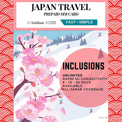 JAPAN TRAVEL - 8 days Prepaid data SIM card 4G/LTE UNLIMITED
