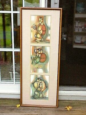 RARE Hargreaves Ntukwana Mixed Media Stacked Vertical TRIPTYCH Abstract Figures