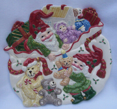 """Fitz and Floyd Christmas Canape Plate """"Holiday Elf"""" - NEW"""