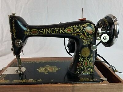 ANTIQUE 40 SINGER Model 40 Red Eye Sewing Machine In Case G40 Beauteous 1920 Sewing Machine