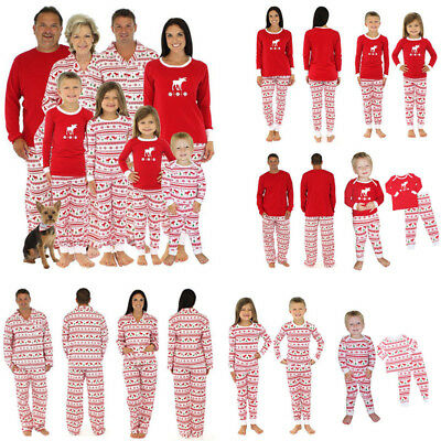 Xmas Family Mom Dad Kids Pajamas Set Moose Cartoon Print Jumpsuit Pajama Set