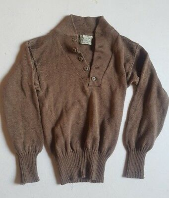 US Army Military 5 Button Sweater Genuine Issue Knitted Wool Brown