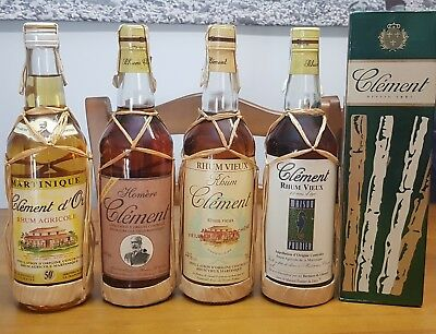 Rhum Clement Collection 4 OLD & RARE Bottles, Rum , Ron , Rom