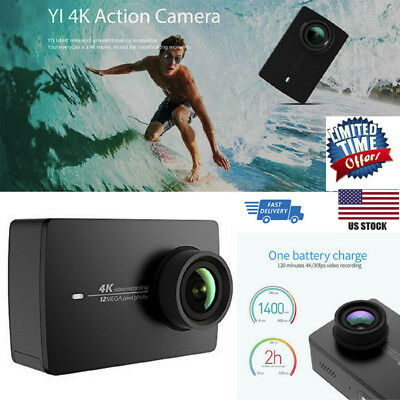 YI 4K Sports & Action Video Camera LCD Touchscreen (US Edition) Black Pearl 12MP