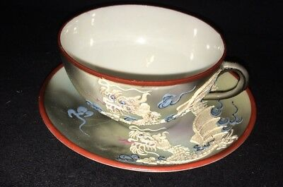 Vintage Victoria Japanese Painted DragonWare Saucer Moriage Cup And Saucer Set