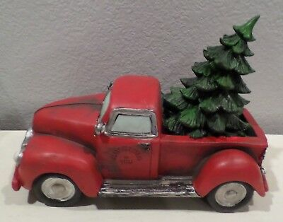 red old style truck christmas tree in back fall winter home decor display new