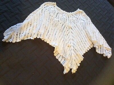 Sz 4 Hand Made Unique Vintage Crotchet Small Girls White Poncho Cape Throw Over