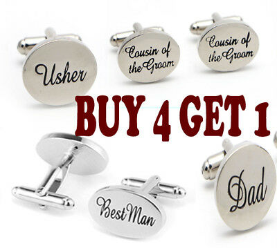 Silver Oval Men's Dress Wedding Party Gift Engraved Title Cuff Links Cufflinks