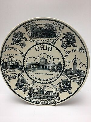 "Vintage Ohio Buckey State Souvenir Collector Plate 10"" Made in USA"