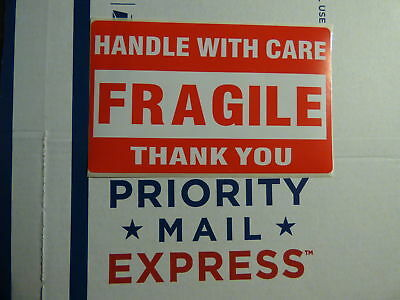 4 Four LARGE 3x5 FRAGILE Handle With Care Thank You Bright Red Labels Stickers!