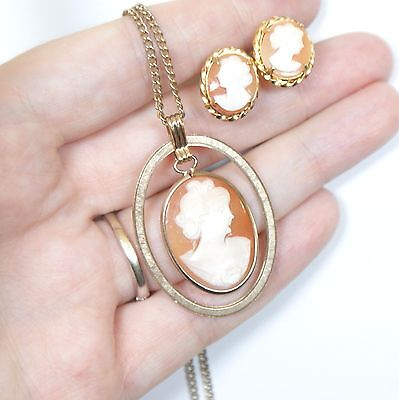 Vintage 1960s 12k Gold Filled Carved Lady Shell Cameo Pendant & Earrings Set