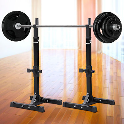 Heavy Duty Adjustable Gym Squat Barbell Power Rack Stand Press Weight Bench 2PCS