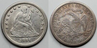 USA ESTADOS UNIDOS 1891 Seated Liberty 25 CENTS QUARTER DOLLAR MBC/VF