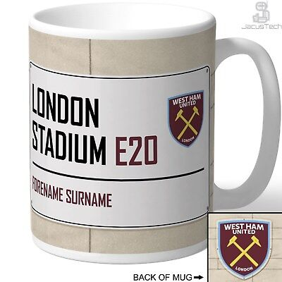 Personalised West Ham United Mug. Name Customised Cup. Birthday Gift Merchandise