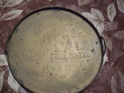 Vintage / Antique Brass Serving Tray Etched with Asian Art Great Collectible