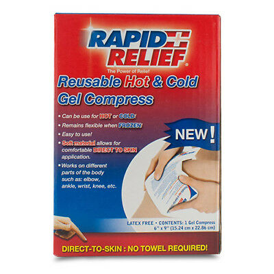 Rapid Relief Reusable Hot/Cold Gel Compress Direct To Skin