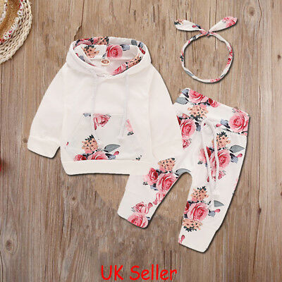 UK Infant Toddler Baby Girls Hoodie Tops Pants Leggings 3Pcs Outfits Clothes Set