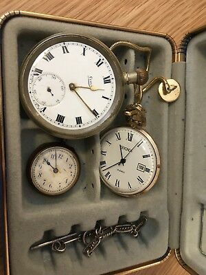 POCKET WATCHES Job Lot of 3 With A Silver Chain/spares or repair
