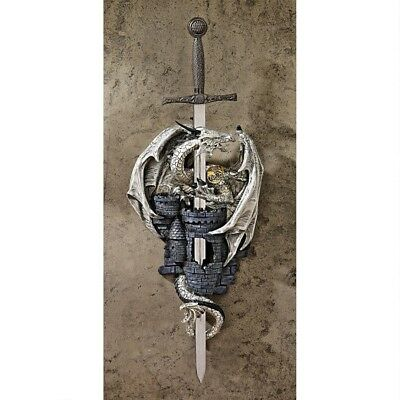 Medieval Gothic Fortress Coat of Arms & Sword Dragon Wall Sculpture New