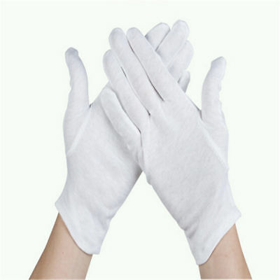 White Inspection Cotton Work High Stretch Gloves Coin Jewelry Lightweight AI