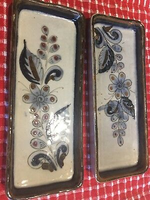 Tonala Mexican Pottery Rectangle Dishes 7.5 X 3 Inches Ken Edwards