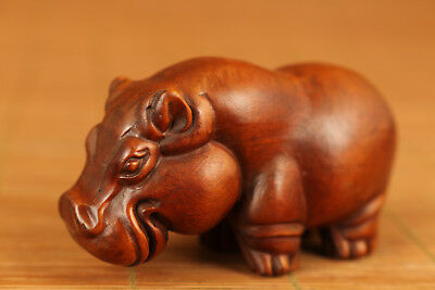 rare Chinese Old Boxwood Hand Carved Hippo Figure Statue netsuke valuable gift