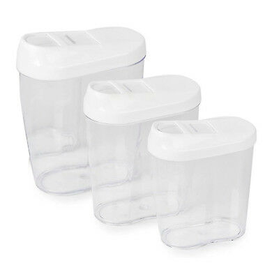 3pc Stacking Nested Plastic Food Storage Box Dispenser Containers Set Slide Lid